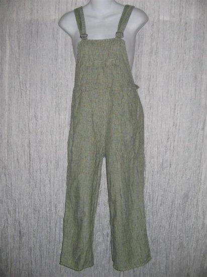 Jeanne Engelhart FLAX Green Grid Cropped LINEN Overalls Petite P