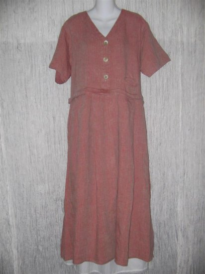 FLAX by Angelheart Pink LINEN Pullover Dress Medium M