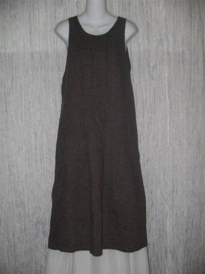FLAX by Angelheart Muted Berry Stripe LINEN Jump Dress Medium M