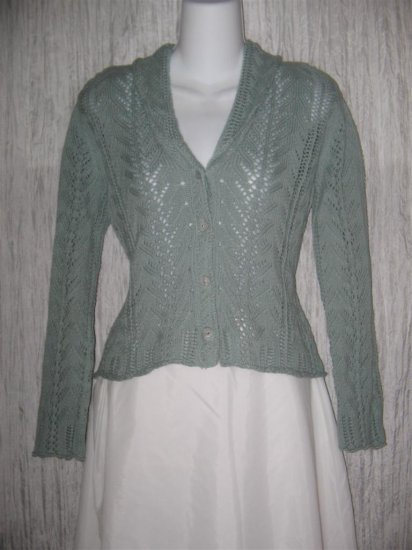 J. Jill Blue Gray Cotton Knit Cardigan Sweater Small Petite SP