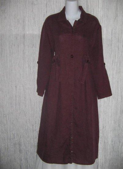 FLAX by Jeanne Engelhart Plum LINEN Snappy Belted Duster Dress Coat Petite P