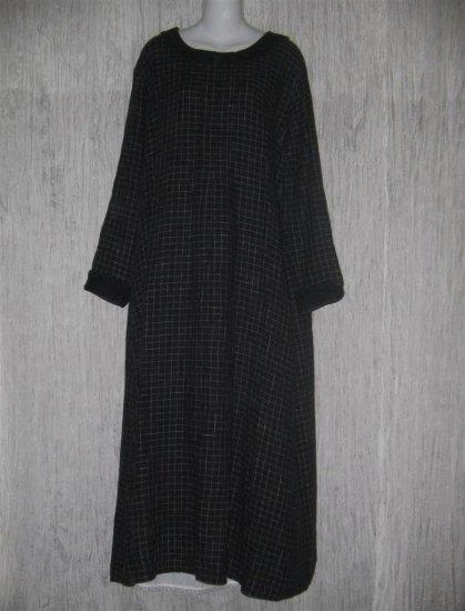FLAX by Jeanne Engelhart Black LINEN Grid Dress Large L