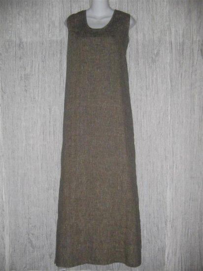 FLAX by Jeanne Engelhart Earthy Gray Linen Slip Dress 1G