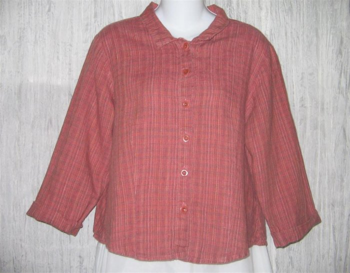 FLAX Shapely LINEN Button Shirt Top Jeanne Engelhart Small S