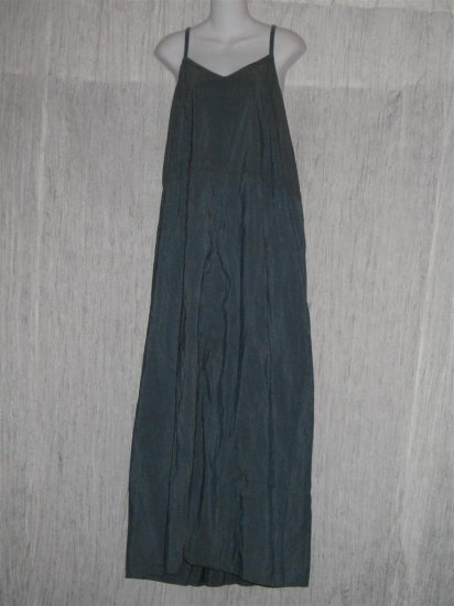 Jeanne Engelhart FLAX Long Blue Gray Silk Slip Dress Large L