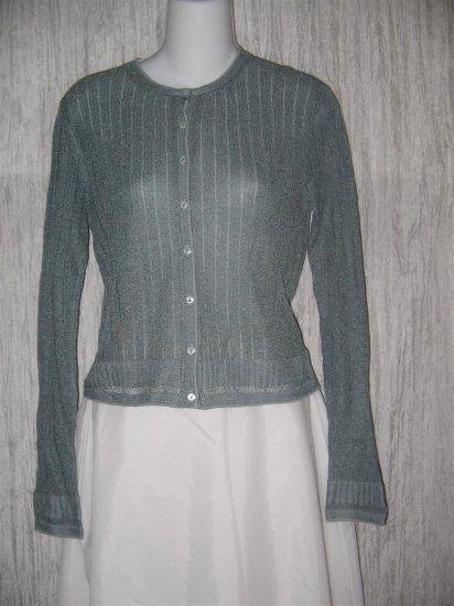 ESSENDI Blue Delicate Viscose Silk Button Cardigan Sweater Medium M
