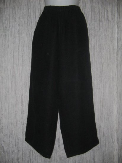 FLAX by Jeanne Engelhart Black LINEN Floods Pants Medium M
