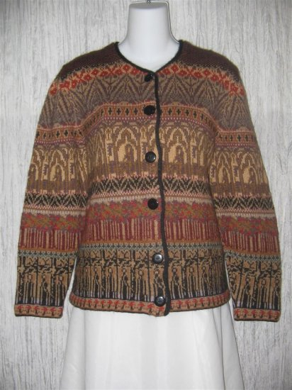 Peruvian Connection Soft Brown Alpaca Wool Cardigan Sweater Medium M