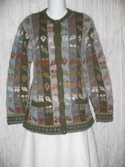 NAN HADDEN Art to Wear Wool Hand knit Cardigan Sweater Large L