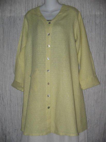 FLAX Long Green Linen Button Tunic Top Jacket Jeanne Engelhart Small S