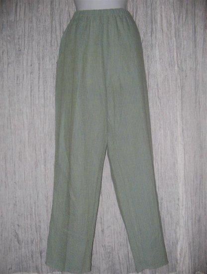 Jeanne Engelhart FLAX Long Blue Green Linen Pants Medium M