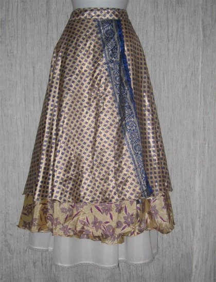 NWT Long Layered Indian Silk Art to Wear Wrap Skirt One Size