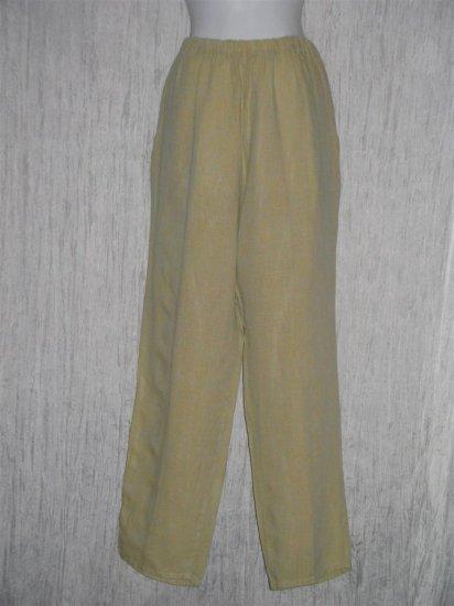 Jeanne Engelhart FLAX Long Green Linen Pants Medium M
