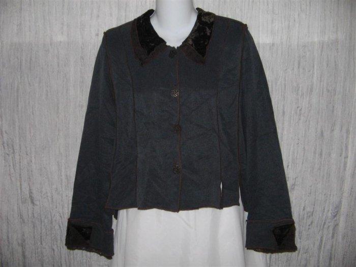 NEIL & DAVID Jewel Blue Velvet & Lace Trim Shapely Jacket Large L