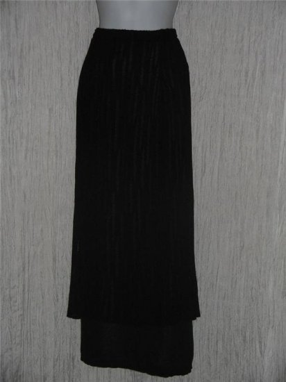 Coveted Boutique Long Double Black Knit Layered Lagenlook Skirt S M