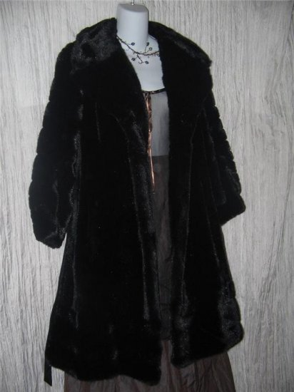 Long Shapely Vintage Coat Thick Black Faux Fur Made in England Small S