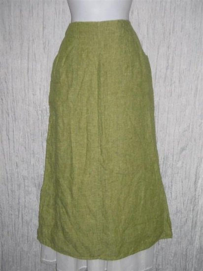 New FLAX Long Green Linen Pocket Skirt Jeanne Engelhart Small S