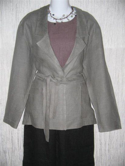 RIALTO California Shapely Gray Belted Jacket Top S M