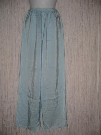 New JACKIE LOVES JOHN Sky Blue Silk Wide Leg Pants Medium M