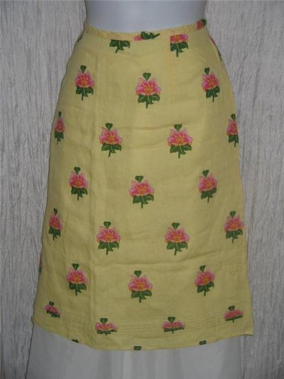 Solitaire Yellow & Pink Floral LINEN Shapely Knee Skirt Large L