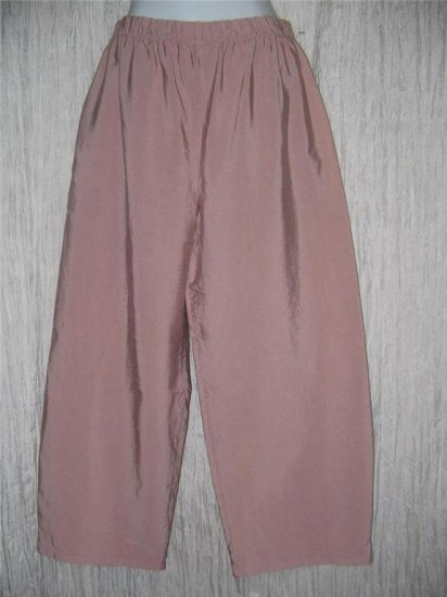 New JACKIE LOVES JOHN Heavy Mauve Silk Wide Leg Pants Large L