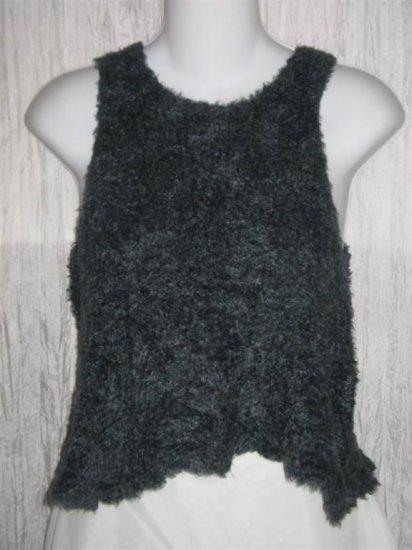 ROSEY Soft Furry Jewel Blue Stretch Knit Sweater Tank Vest Small S