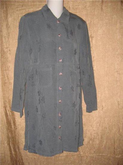 J. Jill Blue Floral Tencel Empire Waist Dress X-Small Petite XSP