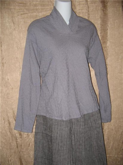 FLAX by Jeanne Engelhart Dusk Gray Falling Leaves SHAPESHIFTER Shirt Tunic Top Small S
