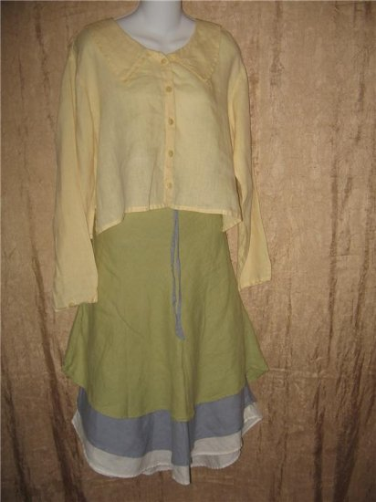 FLAX by Jeanne Engelhart Butter City Middy Button Shirt Top Small S