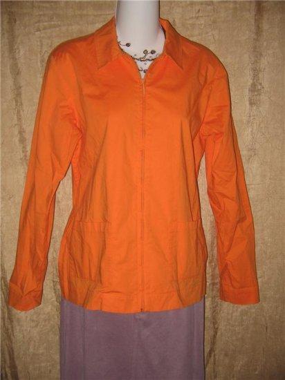 EILEEN FISHER Orange Cotton Zipper Jacket Coat Small S