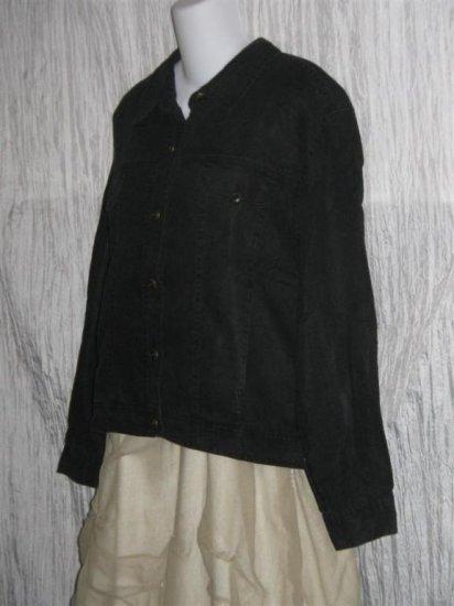 J. Jill Heavy Black LINEN Button Jacket Top Large L