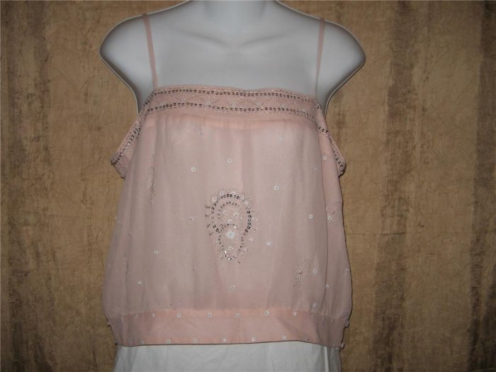 CL Carole Little Pink Silk Beaded Flapper Shirt Top Medium M