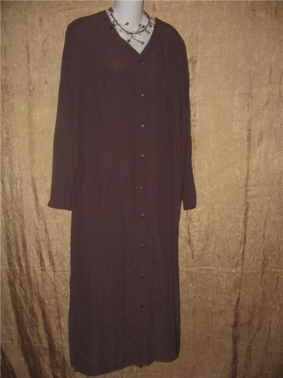 EILEEN FISHER NY Long Raisin Rayon Button Dress Size 1 Small S