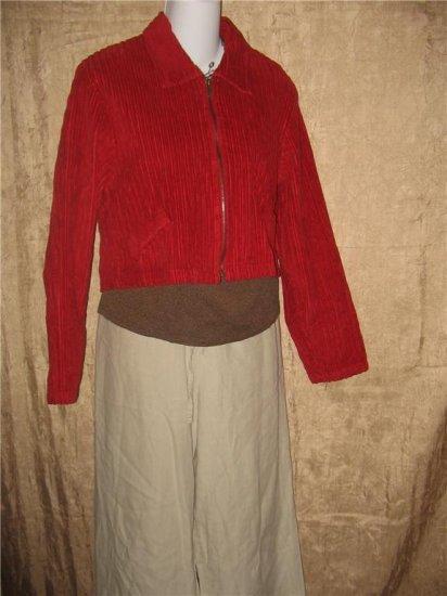 D.C.C. Clothing Company Cropped Red Corduroy Zip Jacket Coat Medium M