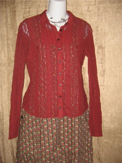 J. Jill Rust Red Stretch Lace Button Shirt Tunic Top X-Small XS