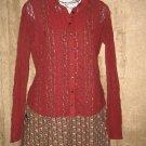 J. Jill Rust Red Stretch Lace Button Shirt Tunic Top X-Small XS