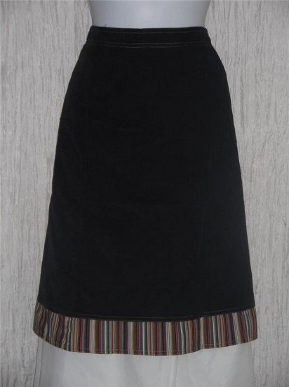 Solitaire Black Featherwale Corduroy Shapely Skirt Small S