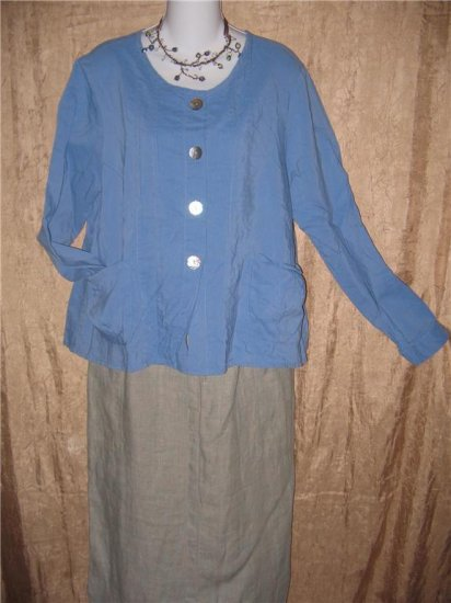 FLAX Textured Blue Boxy Button Jacket Shirt Top Jeanne Engelhart Small S