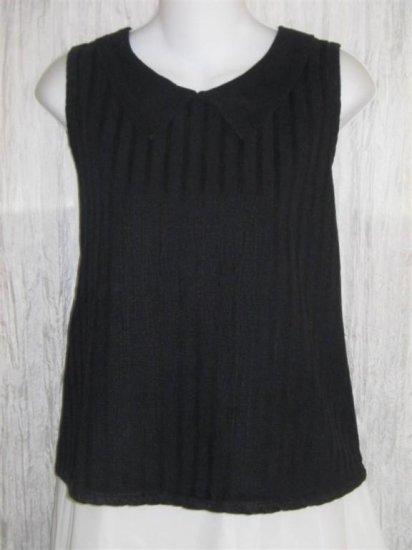 LIV Black Collared Sleeveless Tunic Top Pullover Shirt Medium M
