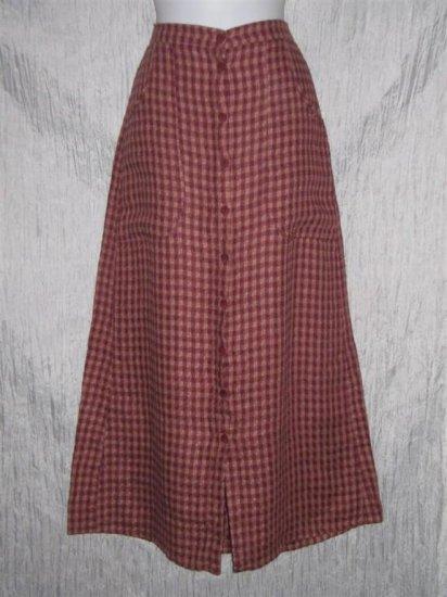 FLAX Textured LINEN Button Skirt Jeanne Engelhart Small S