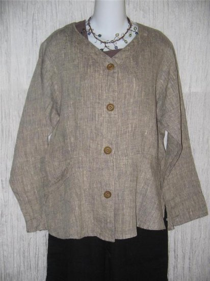 FLAX by Jeanne Engelhart Shapely LINEN Peplum Jacket Shirt Top Small S