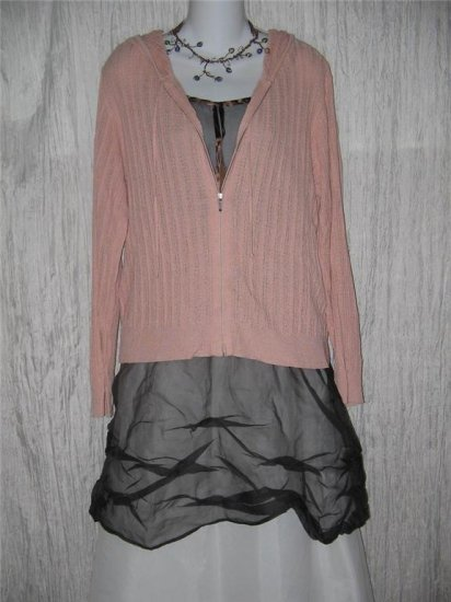 J. Jill Softest Delicate Draping Pink Hooded Zipped Cardigan Sweater M