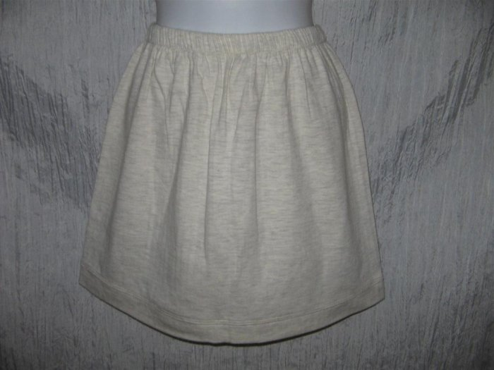 FLAX by Angelheart Jeanne Engelhart Light Gray Short Cotton Skirt Small S
