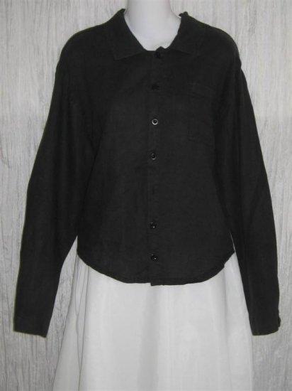 FLAX Black LINEN Button Shirt Tunic Top Jeanne Engelhart Small S