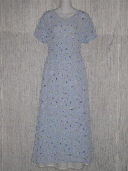 Putumayo Long Blue Shapely Floral Weave Dress Large L