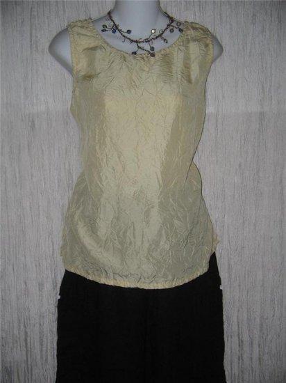 New JACKIE LOVES JOHN Butter Cream Silk Blouse Shell Shirt Top Large L