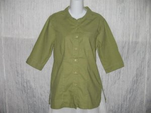Crossroads Green Cotton Shapely Button Shirt Tunic Top Size 6 Small S