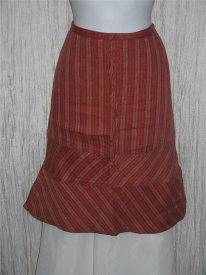 Solitaire Shapely Flared Hem Linen Knee Skirt Small S