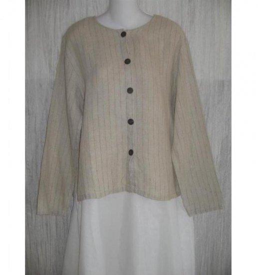 J. Jill Striped Boxy LINEN Button Shirt Top Medium M