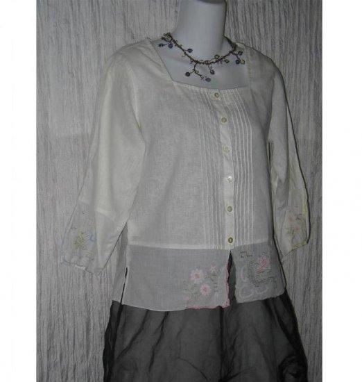 SUSAN BRISTOL White Linen Handkerchief Blouse Shirt Top S